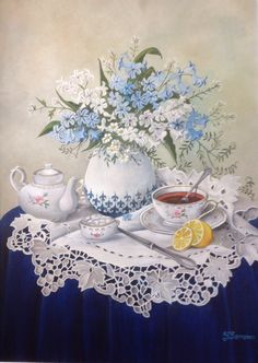 Hyper Realistic Paintings, Realistic Drawings, Painting Still Life, Still Life Art, Scenery Paintings, Food Painting, Decoupage Paper, Flower Art, Tea Party