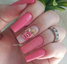 New spring pedicure designs hot pink Ideas Acrylic Nails Coffin Short, Acrylic Nail Art, Acrylic Nail Designs, Nail Art Designs, Pedicure Designs, Manicure E Pedicure, Pink Pedicure, May Nails, Hair And Nails