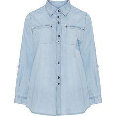 Adia Light-Blue Plus Size Stud pocket denim shirt ($89) ❤ liked on Polyvore featuring tops, plus size, plus size shirts, women's plus size tops, light blue denim shirt, blue top and plus size denim shirt
