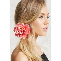 Forever21 Floral Hair Clip (145 PHP) ❤ liked on Polyvore featuring accessories, hair accessories, coral, forever 21, coral hair accessories, floral hair clips, barrette hair clips and hair clip accessories