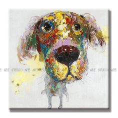 Cute dog oil painting on canvas,adorable pet painting,whimsical animal art,large canvas oil painting,wall art,hand painted by Ape Art Studio by ApeArtStudio on Etsy