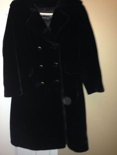 Vintage 1960s? Black Double Breasted Faux Fur Coat Women's Marshall Field  #Borgana