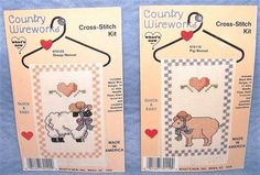 Country Wireworks Sheep Pig Bonnet Cross Stitch Kit Heart Hanger Made in America #WhatsNew