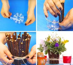 If you're more into bouquets, we have an idea for you too. You can turn an ordinary glass into a beautiful vase. Mosaic Crafts, Mosaic Projects, Easy Crafts To Sell, Diy And Crafts, Diy Soap Dish Holder, Vase Haut, Rock Sculpture, Arts And Crafts Movement, Diy Projects To Try