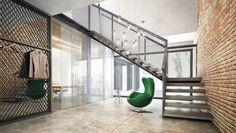 House x07 - Projekt domu dwukondygnacyjnego o powierzchni 261,91m2 z dachem płaskim, garażem, 6 pokojami. Min. wymiary działki : 29,60m x 24,60m. Modern Architecture, Stairs, Exterior, House Design, Home Decor, Stairway, Decoration Home, Staircases, Room Decor