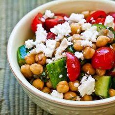 Cucumber/Tomato Salad with Marinated Garbanzo Beans, Feta & Herbs