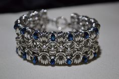 Rondo chainmaille cuff style bracelet with blue by TheArmorersWife