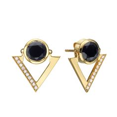 Black Onyx and Diamond Earrings. Onyx Earrings. Gold Earrings. Dangle Earrings. 14K Solid Gold. Gift For Her. Post Statement Earrings.