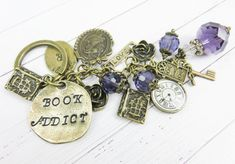 Unique gift for someone who love to read books! Rustic Jewelry, Red Jewelry, Hippie Jewelry, Metal Jewelry, Unique Jewelry, Purple Books, Purple Purse, Personalized Books, Red Earrings