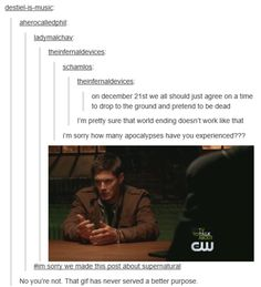multidimensional wavelength of fandom intent | In which the supernatural fandom has a gif for...