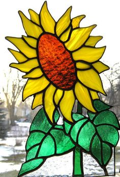 Christmas in July Sale Stained glass sunflower by Nostalgianmore