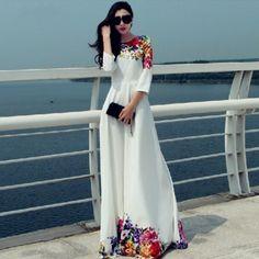 $29 White Floral Print Maxi Long Party Dress Dress   Daisy Dress for Less   Women's Dresses & Accessories