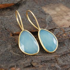 Aqua Chalcedony Semi Precious Gemstone Earrings