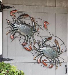 Crab And Shrimp Metal Wall Sculpture