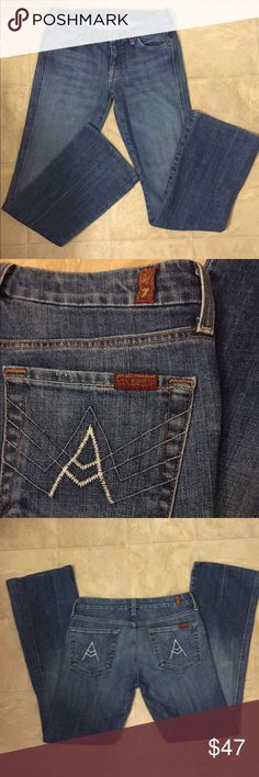 7 For All Mankind A-pocket bootcut jeans size 27 Inseam is 30 inches. Great jeans. Size 27 or 4/5. Soft denim. 7 For All Mankind Jeans Boot Cut