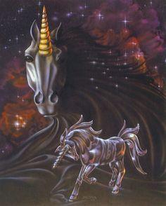 Dark Velvet by Sue Dawe Mystical Animals, Mythical Creatures Art, Magical Creatures, Fantasy Creatures, Unicorn Wings, Unicorn Horse, Unicorn Art, Unicorn Fantasy, Fantasy Art
