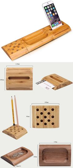 Wood Desktop Organizer Pencil Holder Smartphone Holder