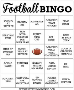 Fun free printable football bingo cards! Fun way to get the whole family involved when dad wants to watch the big game :)