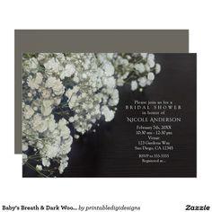 Baby's Breath & Dark Wood Rustic Bridal Shower Card