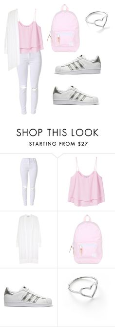 """More School...."" by styledsherman ❤ liked on Polyvore featuring MANGO, DKNY, Herschel, adidas Originals and Jordan Askill"
