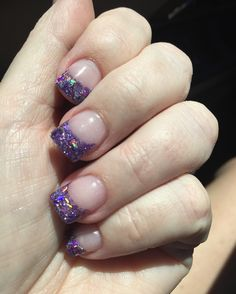 Purple nail art French tips
