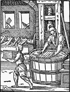 Papermaking/History of paper Johannes Gutenberg, History Of Paper, History Class, History Timeline, Amman, Art Series, Coloring Book Pages, Illuminated Manuscript, Gravure
