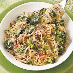 Garlicky Angel Hair with Roasted Broccoli- 1 12-oz. package fresh broccoli florets 6 tablespoons olive oil 1 tablespoon Italian seasoning Salt 8 ounces angel hair pasta 10 cloves garlic, thinly sliced 1/2 teaspoon crushed red pepper 1 cup grated Parmesan 2 tablespoons chopped fresh basil