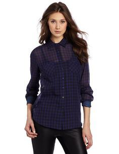 2431fc6e31642 BCBGeneration Women is Woven Button Up Shirt With Contrast Denim
