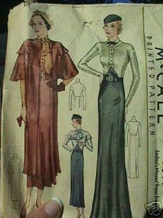 McCall 7689   ca.1933 Ladies' & Misses' Dress Ensemble