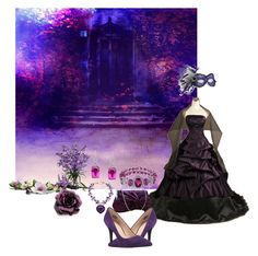 """See you at the ball"" by thefrugal-fashionista ❤ liked on Polyvore featuring Masquerade, 1928, Nearly Natural, Nine West, purple, formal, Elegant and gown"