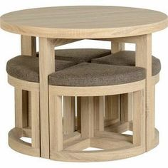 Round Dining Table & 4 Chairs Set Sonoma Oak Breakfast Space Saving Furniture for sale online Wooden Furniture, Home Furniture, Furniture Plans, Coaster Furniture, Industrial Furniture, Industrial Lamps, Vintage Industrial, System Furniture, Diy Furniture Legs Ideas