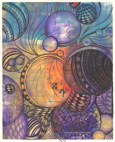 Zentangle on Hand Printed Paper 11-2010 - by Sharla Hicks  Love this!