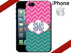 iPhone 4 Case  Teal Pink Chevron and Grey by CrazianDesigns, $15.99