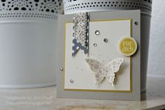 Lovely little card with a stampin up butterfly
