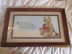 Homco Home Interiors Teddy Bear Lord S Prayer Framed Art Print Picture Nursery