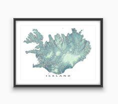 Iceland Map / Iceland Art / Reykjavik / Travel Map Print