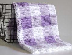 Easy Pattern for Purple Gingham Crochet Baby Blanket - Daisy Farm Crafts Crochet Afghans, Crochet Baby Blanket Beginner, Crochet Stitches, Crochet Blankets, Plaid Crochet, Love Crochet, Easy Crochet, Knit Crochet, Beautiful Crochet