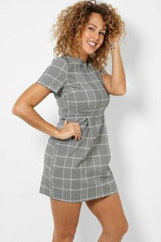 Smart Short Sleeve Check Tulip Pencil Dress Stretch 10 - 18 Tailored Work Office #Kulclothing #PencilDress #Work