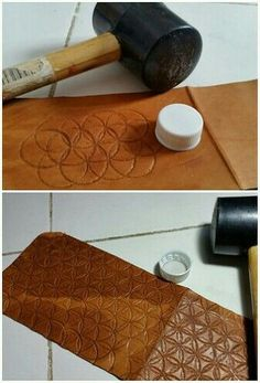 You don't always have to buy expensive tools.Use a bottle cap to create a unique designLeather bottlecap pattern in leatherlaser cut a die and hammer it on to the leather?interesting way to create texture Leather Carving, Leather Art, Sewing Leather, Leather Gifts, Leather Bags Handmade, Leather Design, Leather Wallet, Diy Leather Stamp, Leather Purse Diy