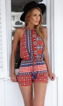 Red Patterned playsuit | Mura Boutique Fashion