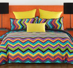 Chevron Multi BIANCA  Features: Cotton sateen Printed Polyester and cotton reverse - #quiltcovers