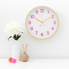 The Clocksicle Neon Pink clock will bring an amazing pop of bright pink & orange to any girls room. It's a gorgeous, eye catching, cool kids clock. Pink Clocks, Clock For Kids, Wood Clocks, Large Clock, Telling Time, Simple Nails, Bright Pink, Cool Kids, Color Pop