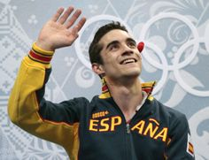 Javier Fernandez of Spain waves to spectators from the results area after the men's free skate figure skating final at the Iceberg Skating P...