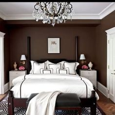 I really love the sheets and chandelier.  I could do this in dark brown or maybe eve navy.