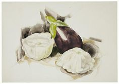 Charles H. Demuth Still Life with Eggplant and Summer Squash, 1927 Opaque and transparent watercolor over graphite on wove paper, Buy Paintings, Painting Prints, Art Prints, Watercolor Fruit, Watercolor And Ink, Watercolor Painting, Charles Demuth, Modernist Movement, Painting Still Life