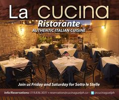 La Cucina - Fine Dining Ontario - Italian Slow Food in Guelph, Cambridge and Kitchener Waterloo Area Slow Food, Fine Dining, Italy Travel, Cambridge, Ontario, Stuff To Do, Italy Destinations