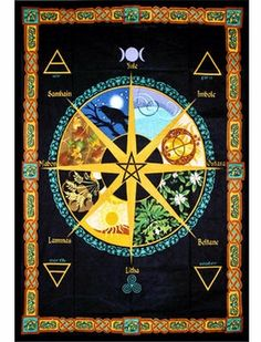 Wheel of the Year Tapestry - pagan wiccan witchcraft magick ritual supplies