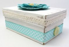 Small Keepsake Box  Ivory and Turquoise Box  by PrettyByrdDesigns