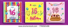 Vector Sets of 16 Years Birthday invitation, greeting card Design, with confetti and balloons, birthday cake, Colorful Vector template Elements for your Birthday Celebration Party.