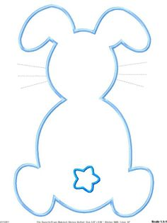 Outline Easter Bunny Machine Embroidery Applique Design